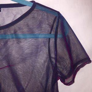 NWT boohoo Lizzie split back metallic shirt U.S 4